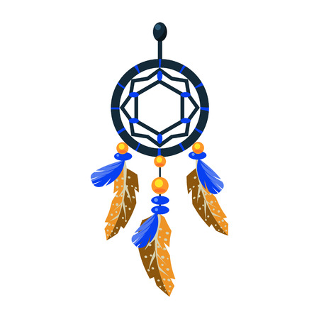 Decorated Dreamcatcher Charm, Native American Indian Culture Symbol, Ethnic Object From North America Isolated Icon