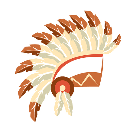 Chief War Bonnet Headdress, Native American Indian Culture Symbol, Ethnic Object From North America Isolated Icon Illustration