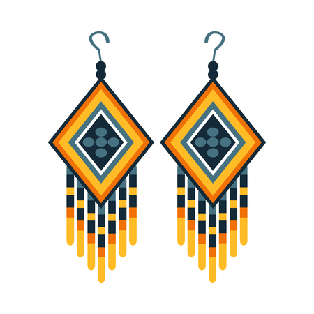 Woman Earrings With Beads, Native American Indian Culture Symbol, Ethnic Object From North America Isolated Icon