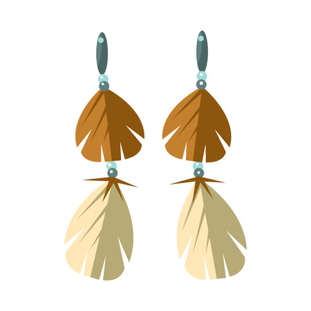 Earrings With Feathers, Native American Indian Culture Symbol, Ethnic Object From North America Isolated Icon Illustration