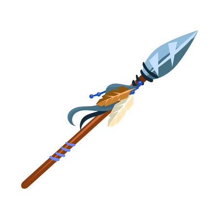 Warriors Speer Koud Wapen, Indiaans Cultuur Symbool, Etnisch Object Van Noord-Amerika Geïsoleerde Icoon Stock Illustratie