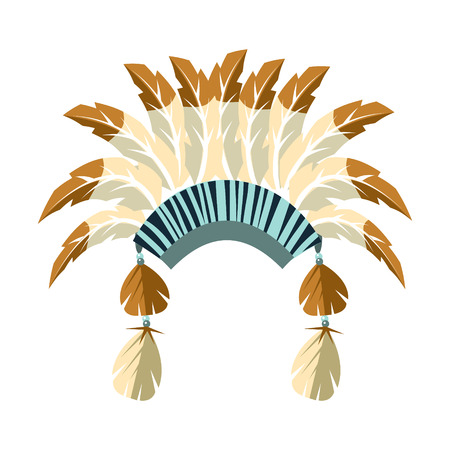 Chiefs War Bonnet With Feathers, Native American Indian Culture Symbol, Ethnic Object From North America Isolated Icon
