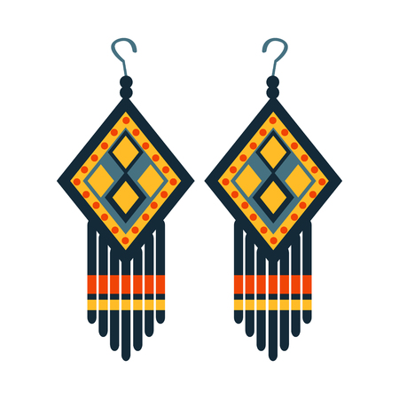 Jewelry Earrings For Woman, Native American Indian Culture Symbol, Ethnic Object From North America Isolated Icon