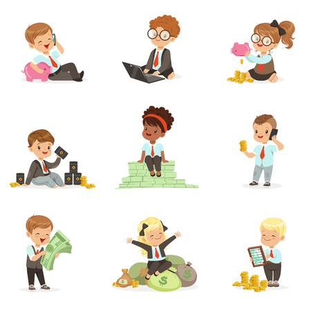 baby sitting: Kids In Financial Business Set Of Cute Boys And Girls Working As Businessman Dealing With Big Money Illustration