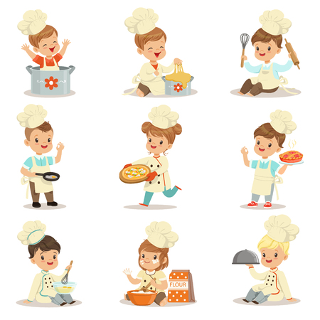 Small Kids In Chief Double-Brested Coat And Toque Hat Cooking Food And BAking Set OF Cute Cartoon Characters Preparing Meal Illustration