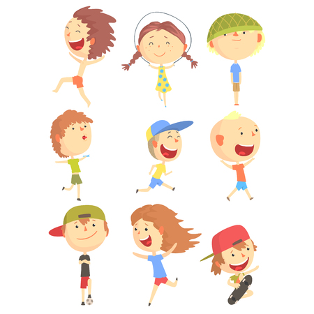 kids fun: Small Kids Playing And Running, Having Fun On Summer Vacation Outdoors Series Of Cool Cartoon Characters Illustration