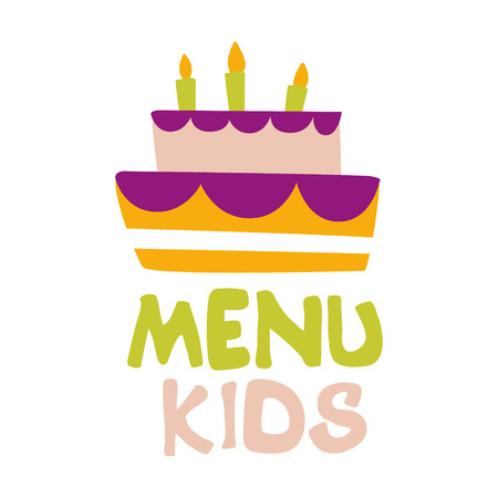 Kids Food, Cafe Special Menu For Children Colorful Promo Sign Template With Text And Party Cake With Candles Illustration