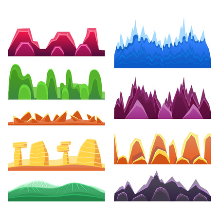 2D Rock And Mountain Profile Elements Set In Bright Color, Video Game Landscaping Of Alien Planet Background Relief Illustration