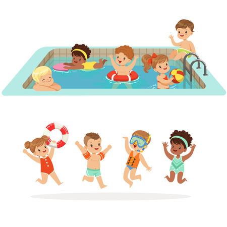 フロート付きのプールの水の楽しさと幸せなかわいいキャラクターのカラフルな水着セットの膨脹可能なおもちゃを持つ小さな子供  イラスト・ベクター素材