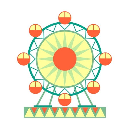 Big Ferris Wheel Ride, Part Of Amusement Park And Fair Series Of Flat Cartoon Illustrations