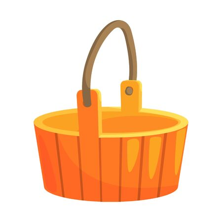 Traditional Wooden Bucket With Handle, Part Of Russian Steam House Series Of Flat Funny Cartoon Illustrations