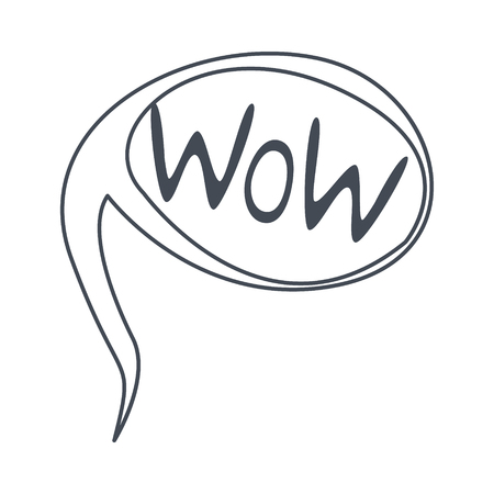 Word Wow, Hand Drawn Comic Speech Bubble Template, Isolated Black And White Hand Drawn Clipart Object