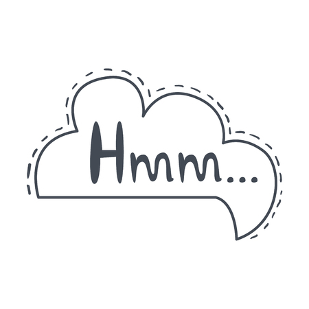 Word Hmm, Hand Drawn Comic Speech Bubble Template, Isolated Black And White Hand Drawn Clipart Object Ilustrace