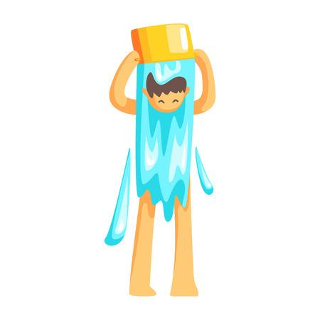Man Drehen Ein Eimer Wasser Auf Seinem Kopf Zum Abkühlen