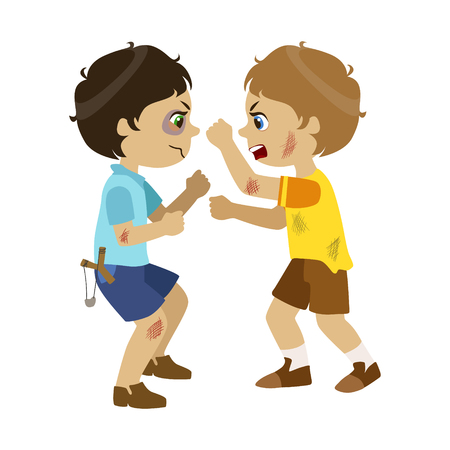Two Bad Boys Fighting, Part Of Bad Kids Behavior And Bullies Series Of Vector Illustrations.