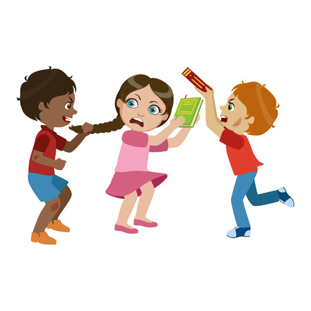Two Boys Bullying A Girl, Part Of Bad Kids Behavior And Bullies Series Of Vector Illustrations.