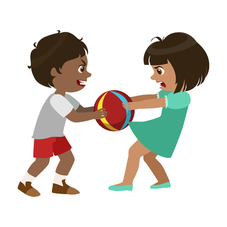 Boy Taking Away A Ball From A Girl, Part Of Bad Kids Behavior And Bullies Series Of Vector Illustrations.