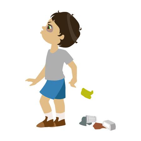 Niño tirar basura, parte del comportamiento de los niños malos y matones serie de ilustraciones vectoriales.