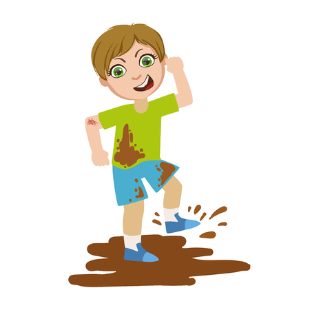 Boy Jumping In Dirt, Part Of Bad Kids Behavior And Bullies Series Of Vector Illustrations. Illustration