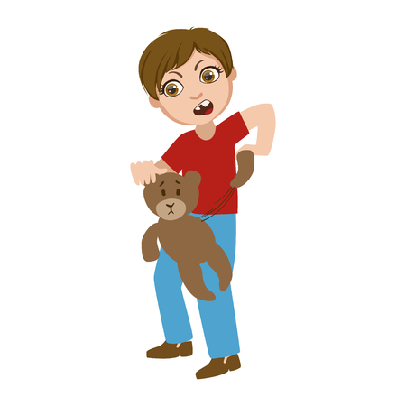 Boy Ripping Apart Teddy Bear, Part Of Bad Kids Behavior And Bullies Series Of Vector Illustrations.