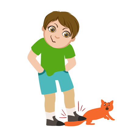 Boy Stepping On Cats Tail, Part Of Bad Kids Behavior And Bullies Series Of Vector Illustrations With Characters Being Rude And Offensive
