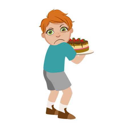 욕심 많은 소년 공유 케이크, 나쁜 어린이 행동의 부분 및 벡터 일러스트 레이 션의 괴롭 히 시리즈.