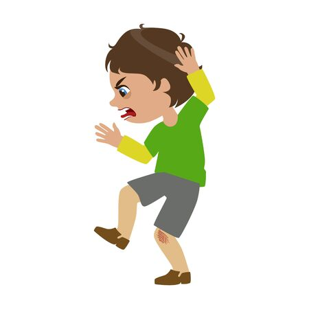 Boy Shouting And Swearing, Part Of Bad Kids Behavior And Bullies Series Of Vector Illustrations. Illustration