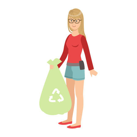 Girl With Trash Bag Throwing Garbage Away, Cartoon Adult Characters Cleaning And Tiding Up