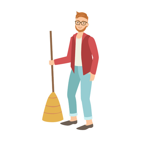 Man With Broom Sweeping The Floor, Cartoon Adult Characters Cleaning And Tiding Up Illustration