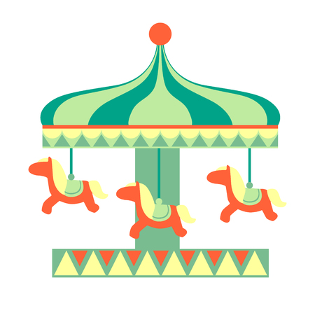 Merry-Go Round With Horses Ride, Part Of Amusement Park And Fair Series Of Flat Cartoon Illustrations Illustration