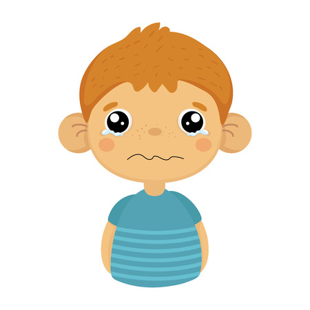 disappoint: Tearful Upset Cute Small Boy With Big Ears In Blue T-shirt, Emoji Portrait Of A Male Child.
