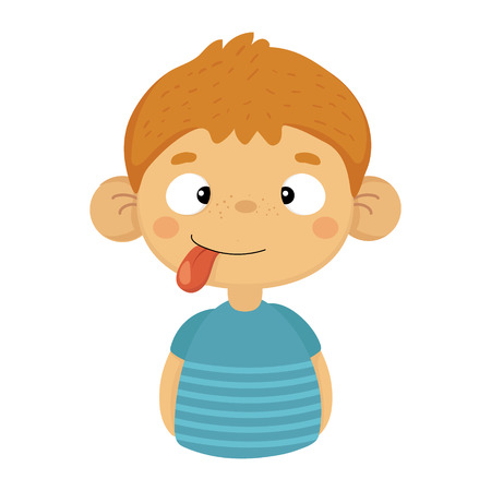 Silly Cute Small Boy With Big Ears And Tongue Out In Blue T-shirt, Emoji Portrait Of A Male Child With Emotional Facial Expression Illusztráció