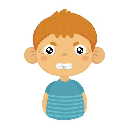 Angry Cute Small Boy With Big Ears In Blue T-shirt, Emoji Portrait Of A Male Child With Emotional Facial Expression