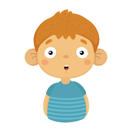 Impressed And Surprised Cute Small Boy With Big Ears In Blue T-shirt, Emoji Portrait Of A Male Child With Emotional Facial Expression Illustration