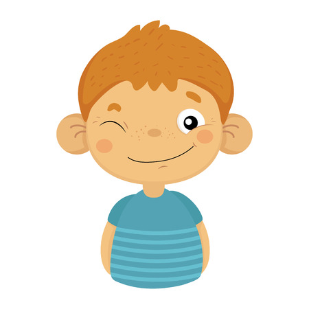 Naughty Winking Cute Small Boy With Big Ears In Blue T-shirt, Emoji Portrait Of A Male Child With Emotional Facial Expression Illusztráció