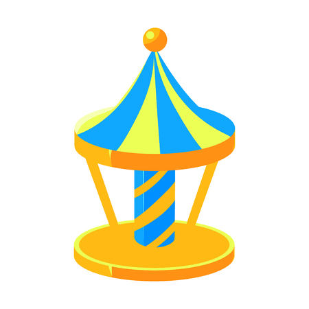 yello: Blue And Yello Merry-Go-Round, Fairy Tale Candy Land Fair Landscaping Element In Childish Colorful Design Isolated Object