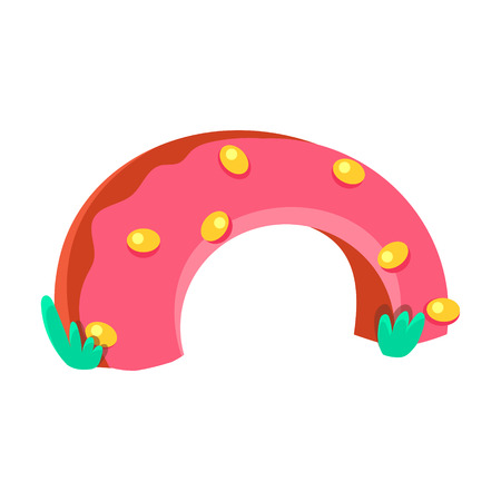 Strawberry Doughnut Half Bridge, Fairy Tale Candy Land Fair Landscaping Element In Childish Colorful Design Isolated Object Illustration