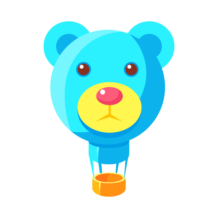 jelly head: Blue Jelly Bear Head Shaped Hot Air Balloon, Fairy Tale Candy Land Fair Landscaping Element In Childish Colorful Design Isolated Object