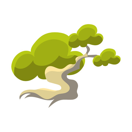Green Tree With White Trunk Bonsai Miniature Traditional Japanese Garden Landscape Element Vector Illustration