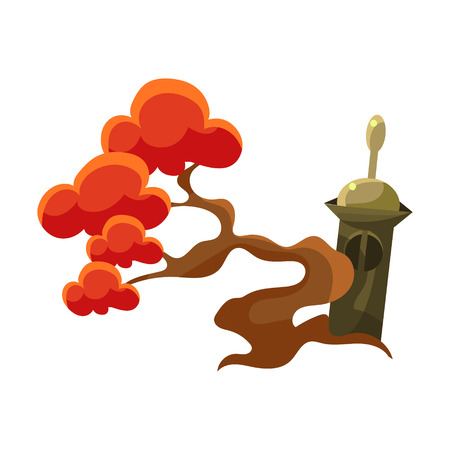 Red Tree And Stupa Tomb, Bonsai Miniature Traditional Japanese Garden Landscape Element Vector Illustration