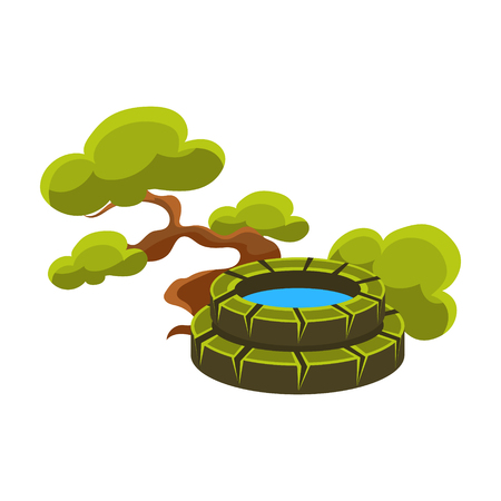 Green Tree And Well, Bonsai Miniature Traditional Japanese Garden Landscape Element Vector Illustration