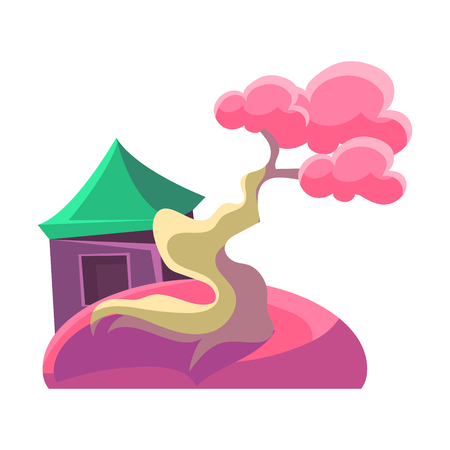 Pink Tree And Building, Bonsai Miniature Traditional Japanese Garden Landscape Element Vector Illustration