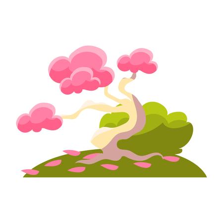 Pink Tree , Bush And Fallen Leaves, Bonsai Miniature Traditional Japanese Garden Landscape Element Vector Illustration