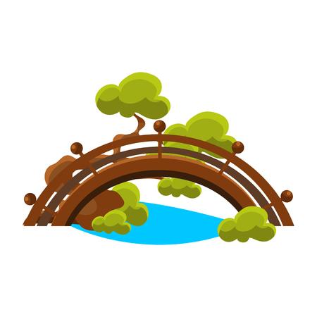 橋上ブルー ストリーム盆栽ミニチュア日本庭園の伝統的な風景要素ベクトル イラスト