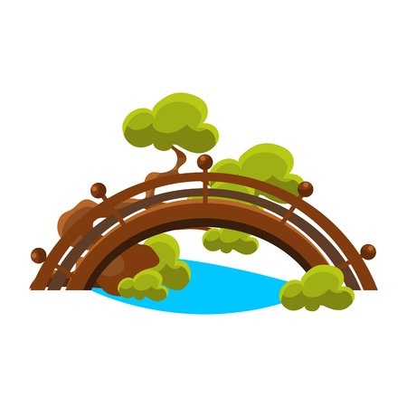 블루 스트림을 통해 다리 분재 소형 전통적인 일본 정원 풍경 요소 벡터 일러스트