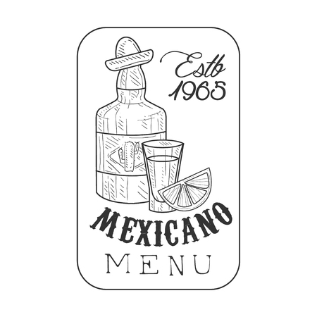 Restaurant Mexican Food Menu Promo Sign In Sketch Style With Tequila Bottle And Establishment Date In Square Frame , Design Label Black And White Template