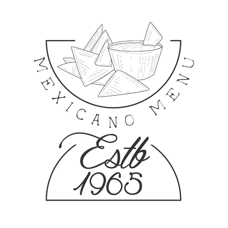 Restaurant Mexican Food Menu Promo Sign In Sketch Style With Nachos And Establishment Date, Design Label Black And White Template