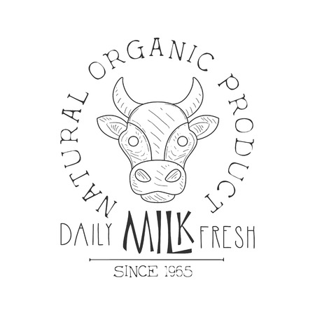 Fresh Milk Product Promo Sign In Sketch Style With Cows Head , Design Label Black And White Template Ilustrace