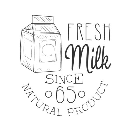 established: Natural Fresh Milk Product Promo Sign In Sketch Style With Carton Box, Design Label Black And White Template