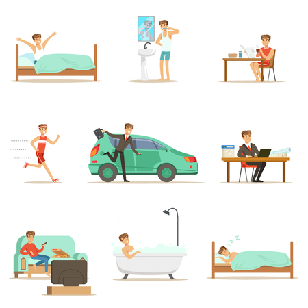 Modern Man Daily Routine From Morning To Evening Reeks Cartoon Illustraties met Happy Character Stock Illustratie